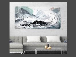 Titel: Surfende Gedanken nr. 2 - abstraktes Bild - 80 x 140 cm