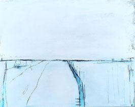 Weiss Blaues Bild 90 x 70 cm