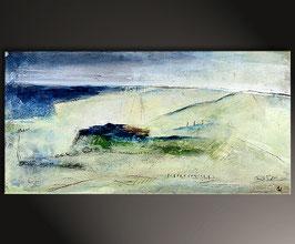 Acrylbild blau beige 80 x 40 cm