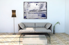 silbern blaues Bild incl. Schattenfugenrahmen - 105 x 85 cm