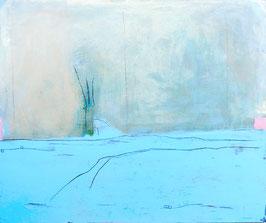 hellblaues Bild abstrakt 120 x 100 cm