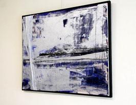 silbern blaues Bild incl. Schattenfurgenrahmen - 105 x 85 cm