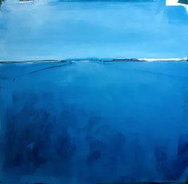 blaues Bild -  Ankunft in Sicht - 120 x 120 cm