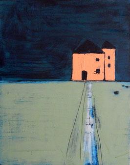 Bild mit Haus und Kühen - 90 x 70 cm