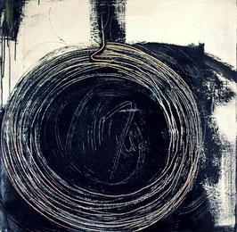 Hamsterrad - schwarz weisses Bild 80 x 80 cm