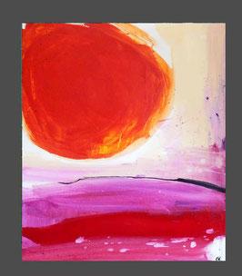 rotes Bild abstrakt gemalt Frühstück in der Abendsonne