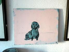 50 x 40 - rosa blau  - dekorativ gemalter Hund