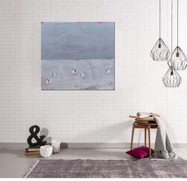 abstraktes Bild grau Strandkörbe
