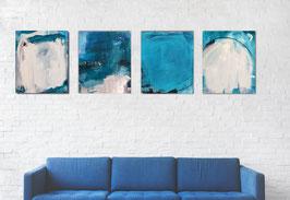 Farbtupfer blau weiss in je 60 x 50 cm
