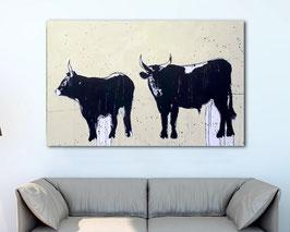 160 x 100 cm -  Stiere in schwarz weiß beige