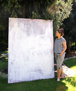 200 x 150 cm - weisses Bild - Stiller Spaziergang
