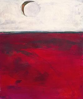 100 x 80 cm - rotes abstraktes Bild - Mondphasen