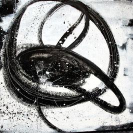 schwarzweißes Bild - Nightswimming - 95 x 95 cm