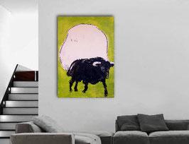 160 x 100 cm - grünes Bild mit Stier