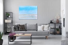 schweres Strukturbild - 120 x 100 cm hellblau - pastell