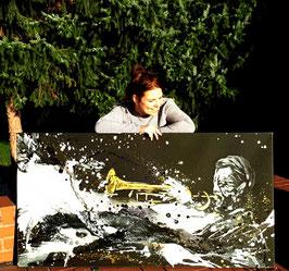 Musiker malen lassen - mit abstrakten schwungvollen Tönen vereint