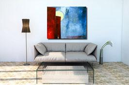 blaues rotes Bild 140 x 120 cm