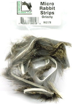 Hareline MICRO RABBIT STRIPS Grizzly MIC176
