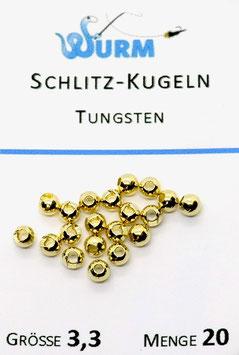 Wurm TUNGSTENKUGELN MIT SCHLITZ Gold 3,3mm
