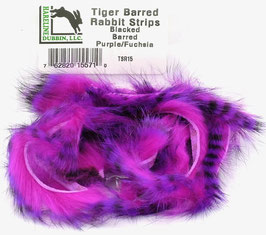 Hareline TIGER BARRED RABBIT STRIPS Black Barred Purple/ Fuchsia TSR15