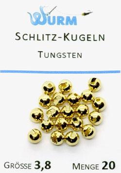 Wurm TUNGSTENKUGELN MIT SCHLITZ Gold 3,8mm