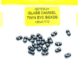 Veniard GLASS DAMSEL TWIN EYE BEADS Hematite