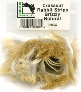 Hareline CROSSCUT RABBIT STRIPS Grizzly Natural CRS247