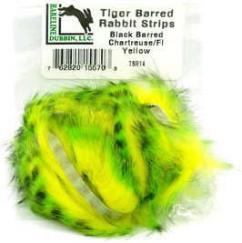 Hareline TIGER BARRED RABBIT STRIPS Black Barred Chartreuse/ Fl. Yellow TSR14