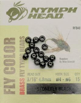 Nymph Head BRASS BEADS Stonefly Black 4,8mm
