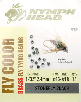Nymph Head BRASS BEADS Stonefly Black 2,4mm