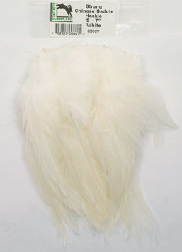 Hareline CHINESE SADDLE HACKLE 5 - 7'' White SCSD377