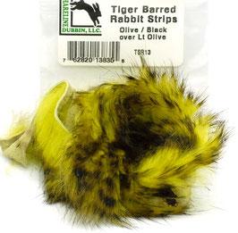 Hareline TIGER BARRED RABBIT STRIPS Olive/ Black over Lt. Olive TSR13