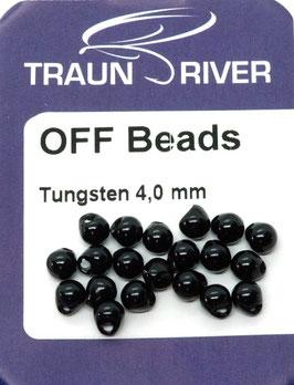 Traun River TUNGSTEN OFF BEADS 4,0mm Schwarz