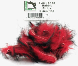 Hareline TWO TONE RABBIT STRIPS Black/ Red TT3