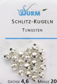 Wurm TUNGSTENKUGELN mit Schlitz Silver 4,6mm