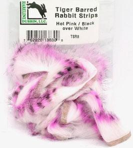 Hareline TIGER BARRED RABBIT STRIPS Hot Pink/ Black over White TSR8