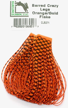 Hareline BARRED CRAZY LEGS Orange/ Gold/ Flake CLB271