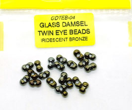 Veniard GLASS DAMSEL TWIN EYE BEADS Iridescent Bronze