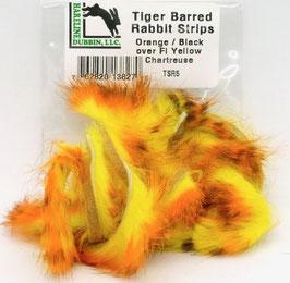 Hareline TIGER BARRED RABBIT STRIPS Orange/ Black over Fl. Yellow TSR5