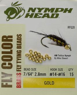 Nymph Head BRASS BEADS Gold 2,8mm