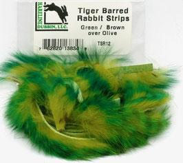 Hareline TIGER BARRED RABBIT STRIPS Green/ Brown over Olive TSR12