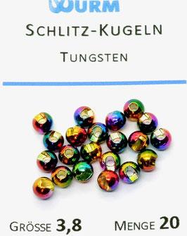 Wurm TUNGSTENKUGELN MIT SCHLITZ Rainbow 3,8mm