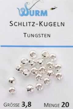 Wurm TUNGSTENKUGELN mit Schlitz Silver 3,8mm