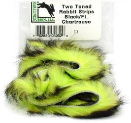 Hareline TWO TONE RABBIT STRIPS Black/ Fl. Chartreuse TT5