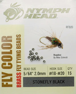 Nymph Head BRASS BEADS Stonefly Black 2,0mm