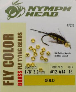 Nymph Head BRASS BEADS Gold 3,2mm