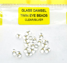 Veniard GLASS DAMSEL TWIN EYE BEADS Clear/ Silver