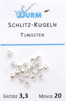Wurm TUNGSTENKUGELN mit Schlitz Silver 3,3mm