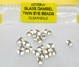Veniard GLASS DAMSEL TWIN EYE BEADS Clear/ Gold