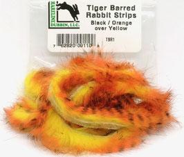 Hareline TIGER BARRED RABBIT STRIPS Black/ Orange over Yellow TSR1